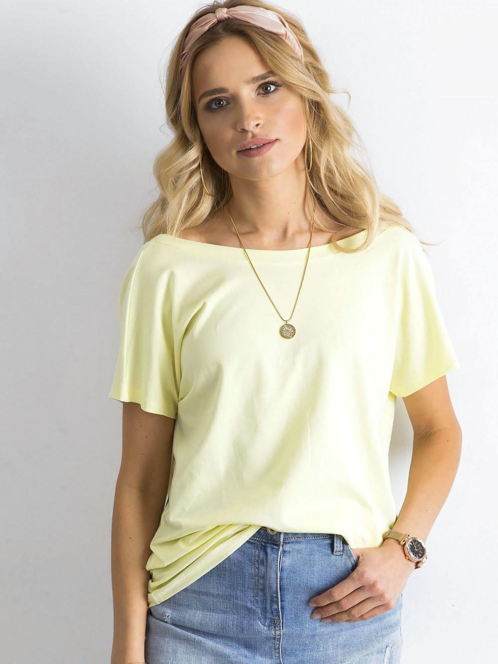 Pastelowo żółty t-shirt z wycięciem V na plecach Sharon 3