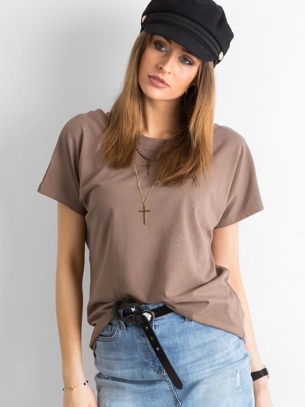 Brązowy t-shirt z wycięciem V na plecach Sharon 2