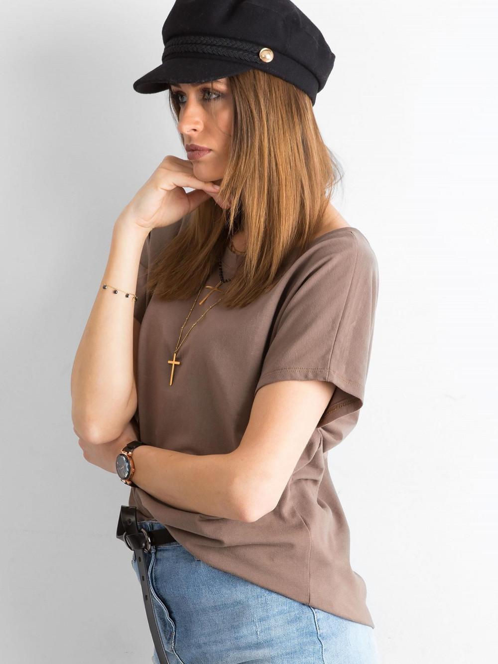 Brązowy t-shirt z wycięciem V na plecach Sharon 5