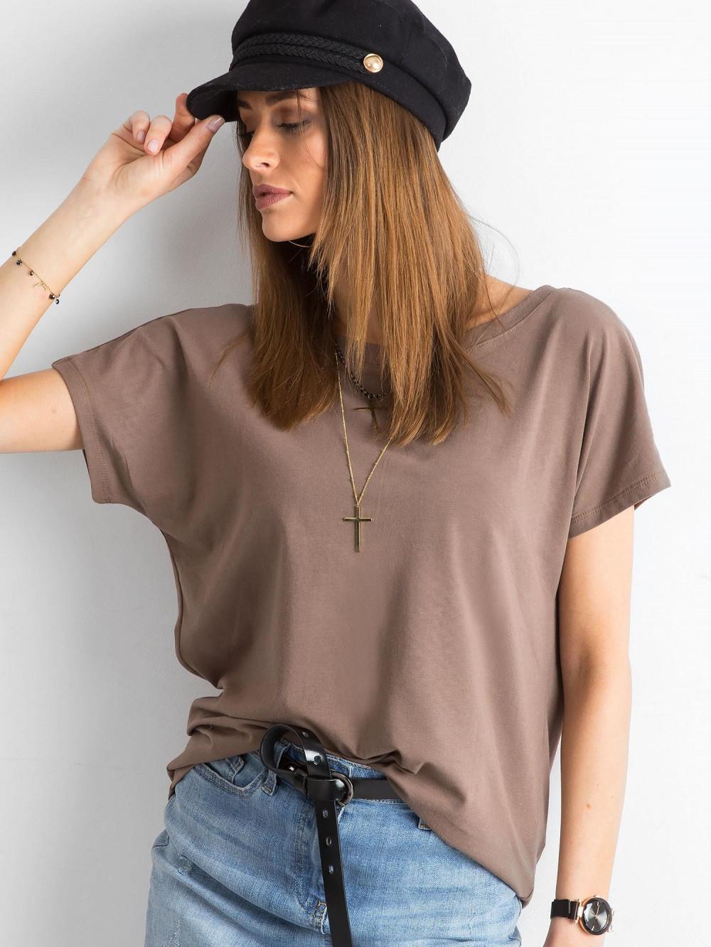 Brązowy t-shirt z wycięciem V na plecach Sharon 3