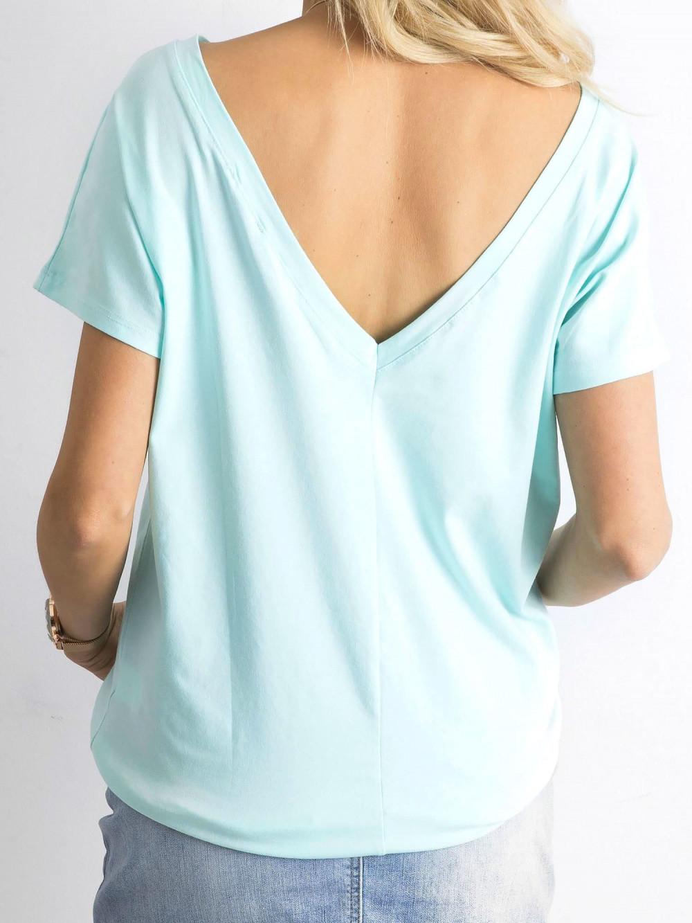 Miętowy t-shirt z wycięciem V na plecach Sharon 1