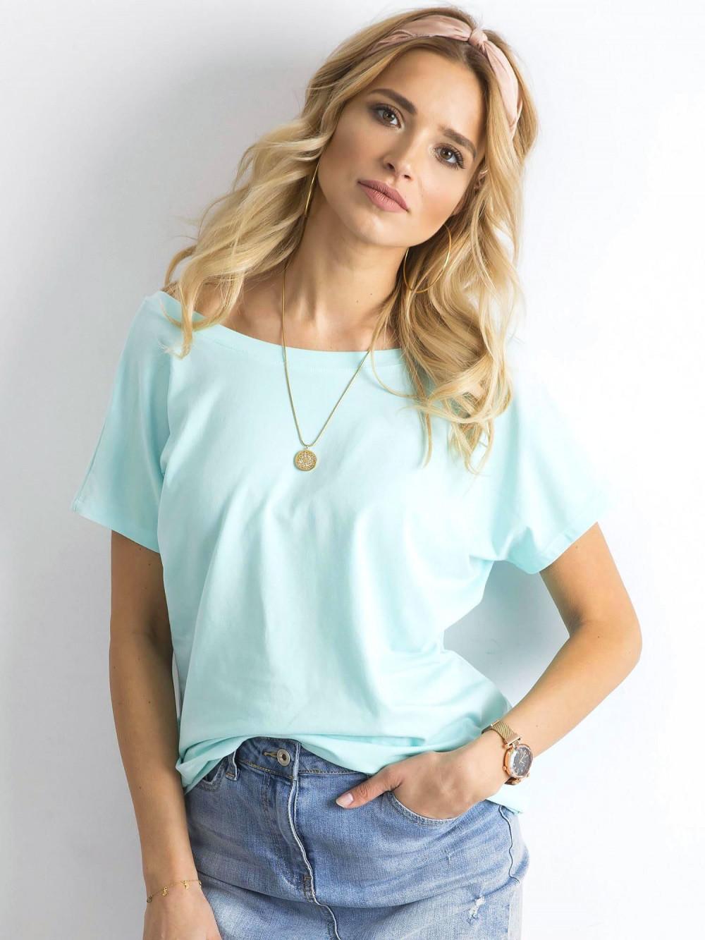 Miętowy t-shirt z wycięciem V na plecach Sharon 2
