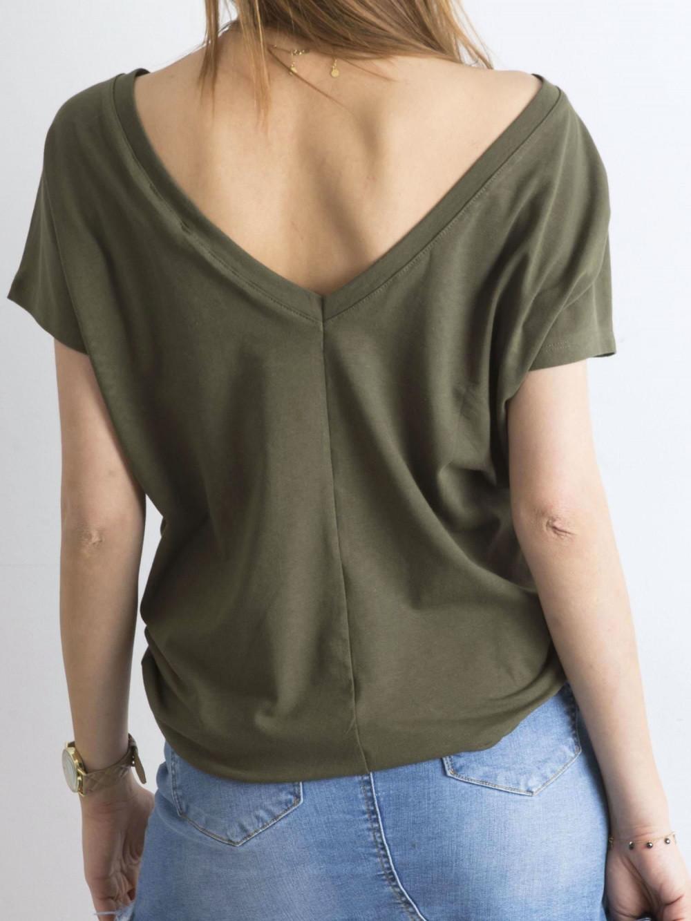 Khaki t-shirt z wycięciem V na plecach Sharon 1