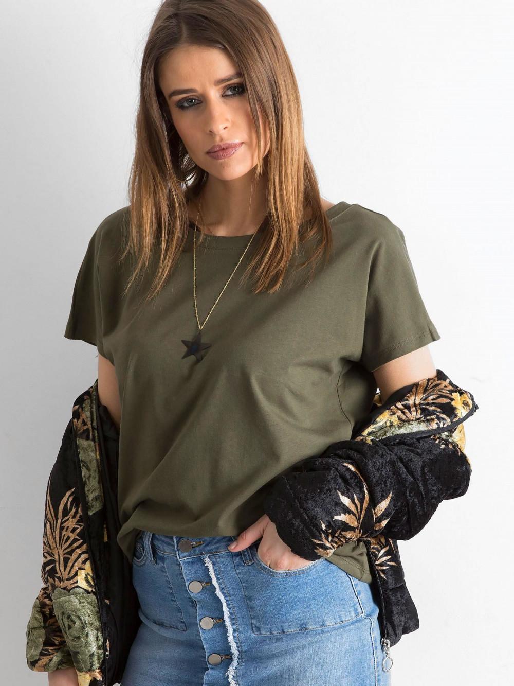 Khaki t-shirt z wycięciem V na plecach Sharon 2