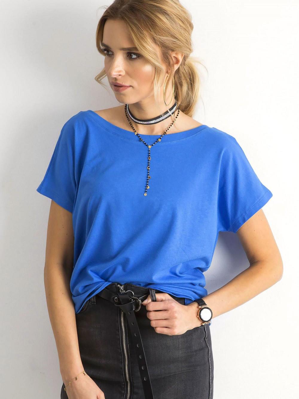 Niebieski t-shirt z wycięciem V na plecach Sharon 2
