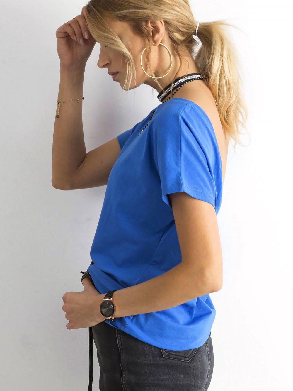 Niebieski t-shirt z wycięciem V na plecach Sharon 4