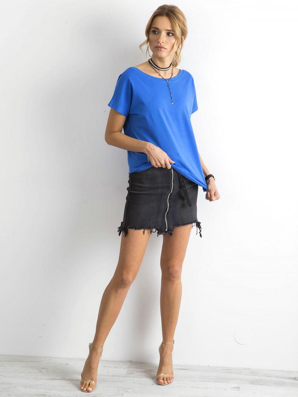 Niebieski t-shirt z wycięciem V na plecach Sharon 3