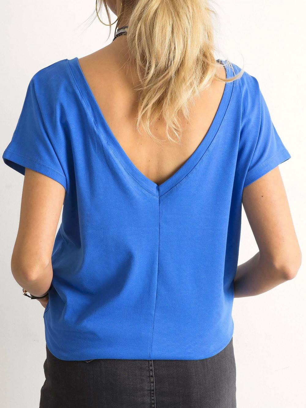 Niebieski t-shirt z wycięciem V na plecach Sharon 1