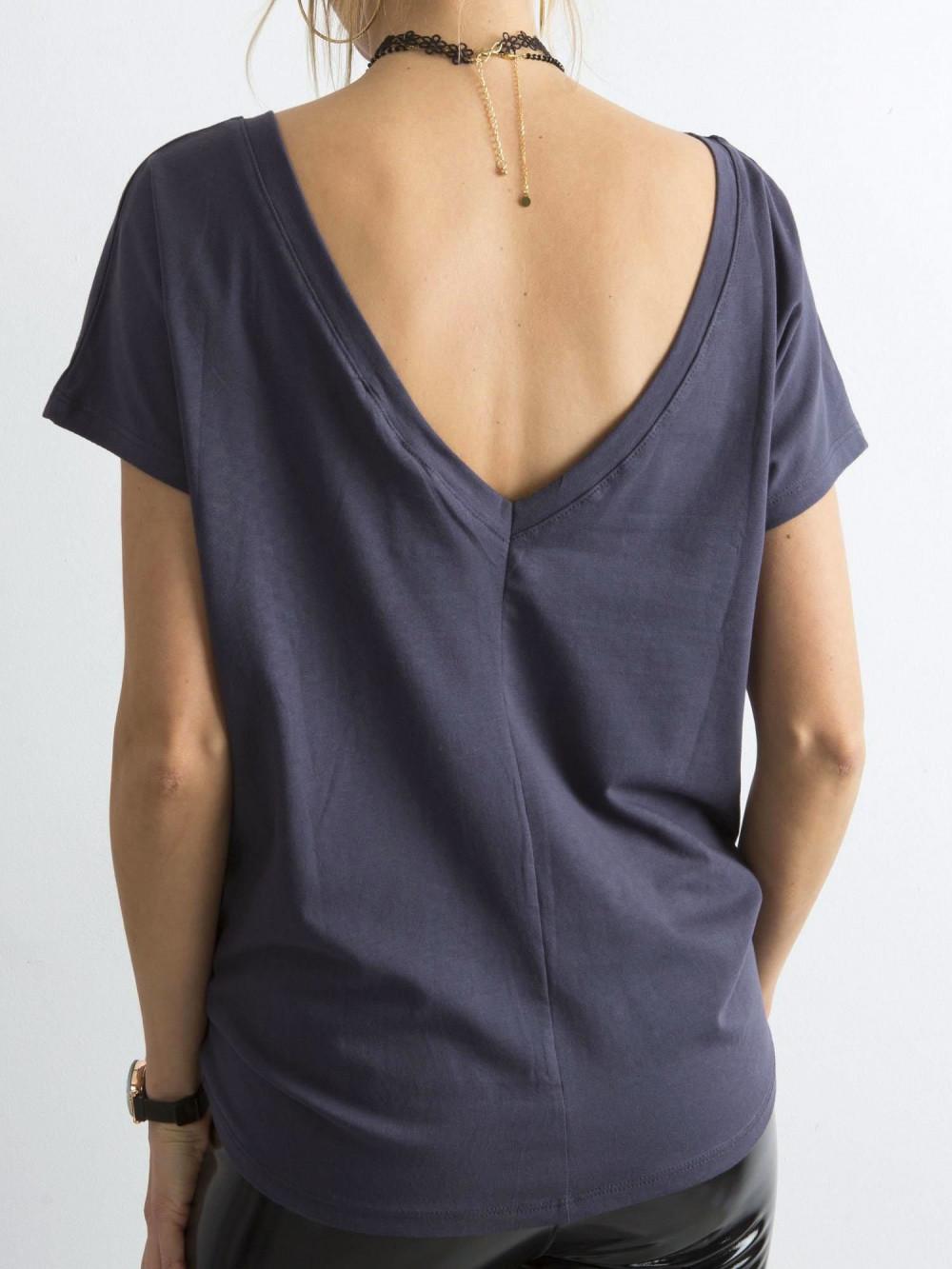 Grafitowy t-shirt z wycięciem V na plecach Sharon 1