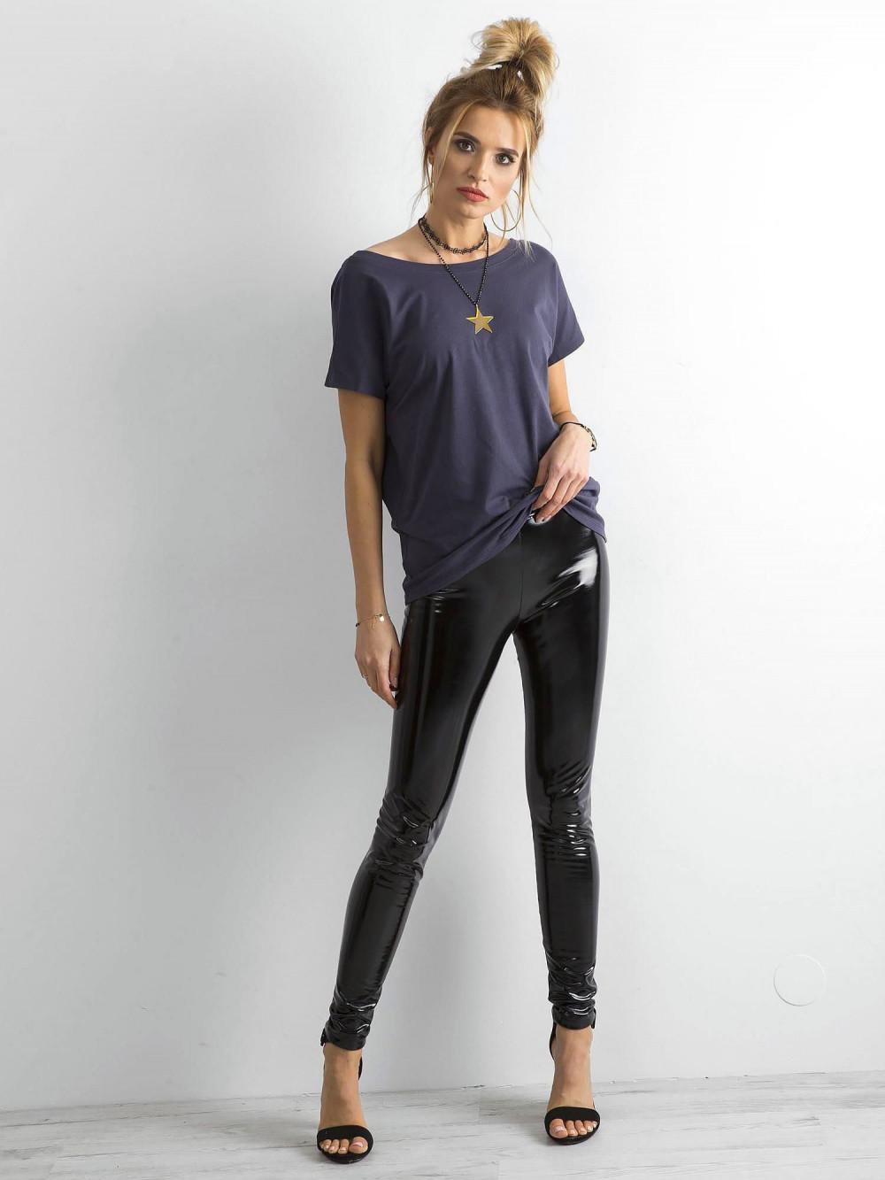 Grafitowy t-shirt z wycięciem V na plecach Sharon 4