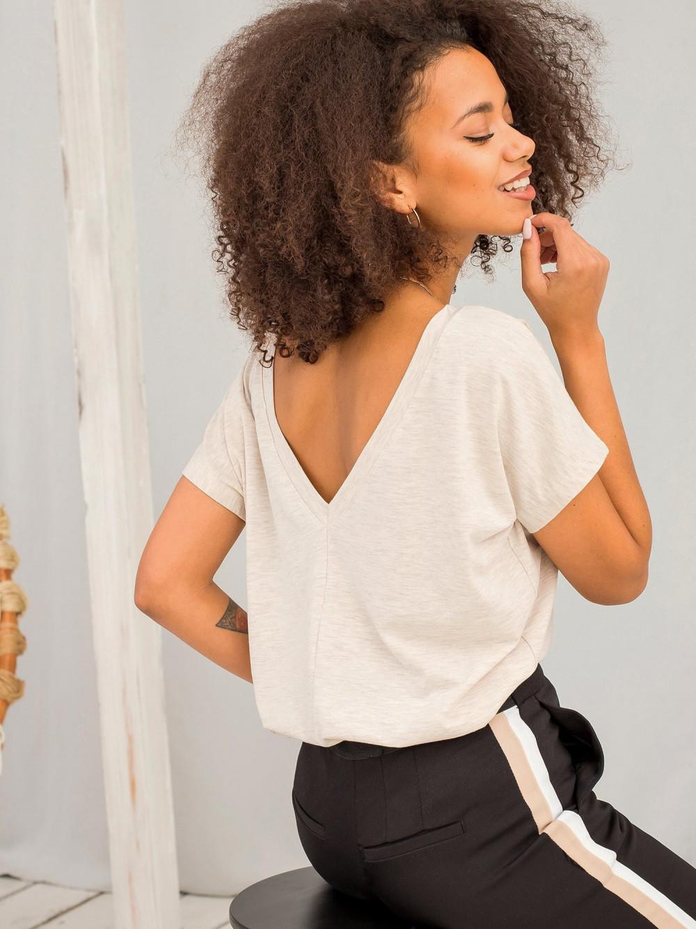 Beżowy melanżowy t-shirt z wycięciem V na plecach Sharon 1