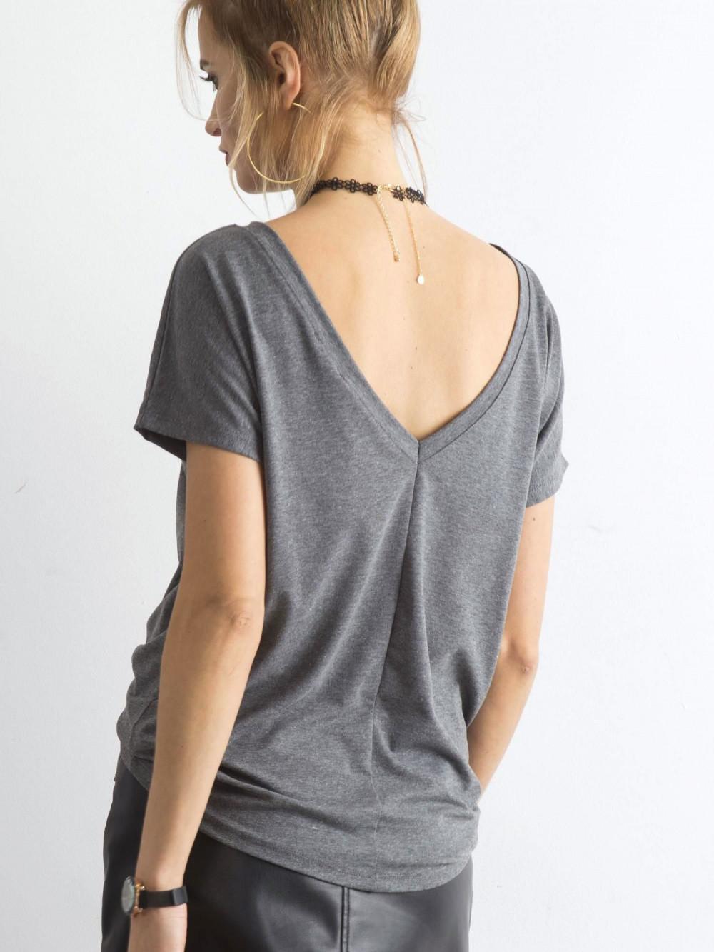 Ciemnoszary t-shirt z wycięciem V na plecach Sharon 1
