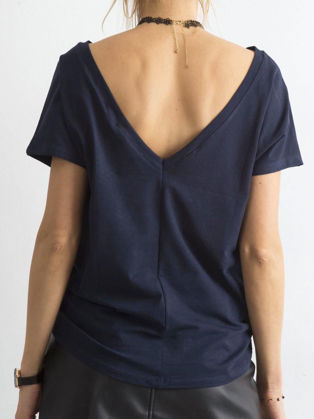 Granatowy t-shirt z wycięciem V na plecach Sharon 1