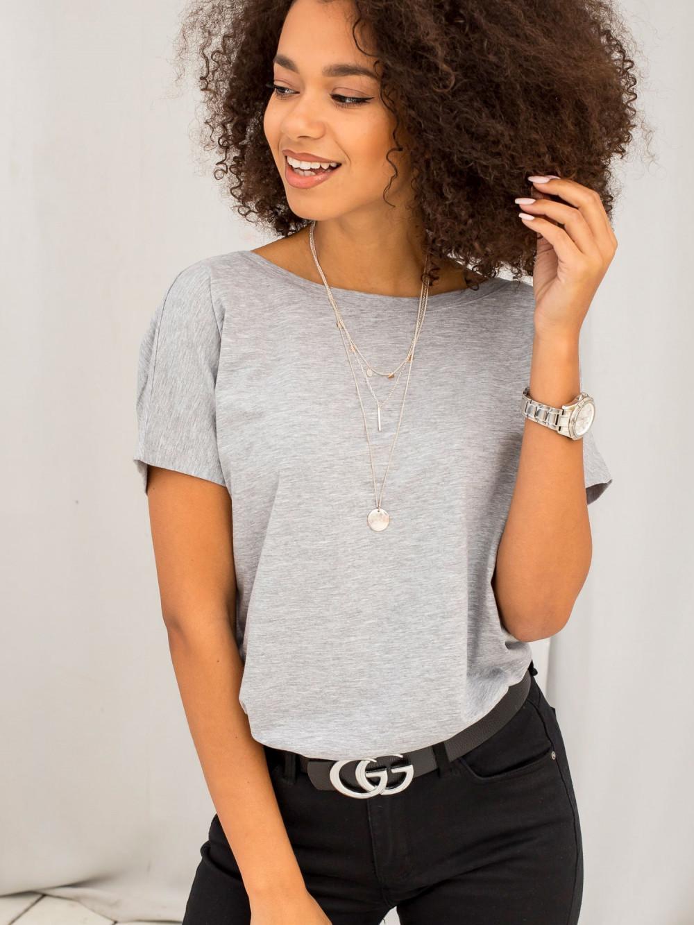 Szary melanżowy t-shirt z wycięciem V na plecach Sharon 3