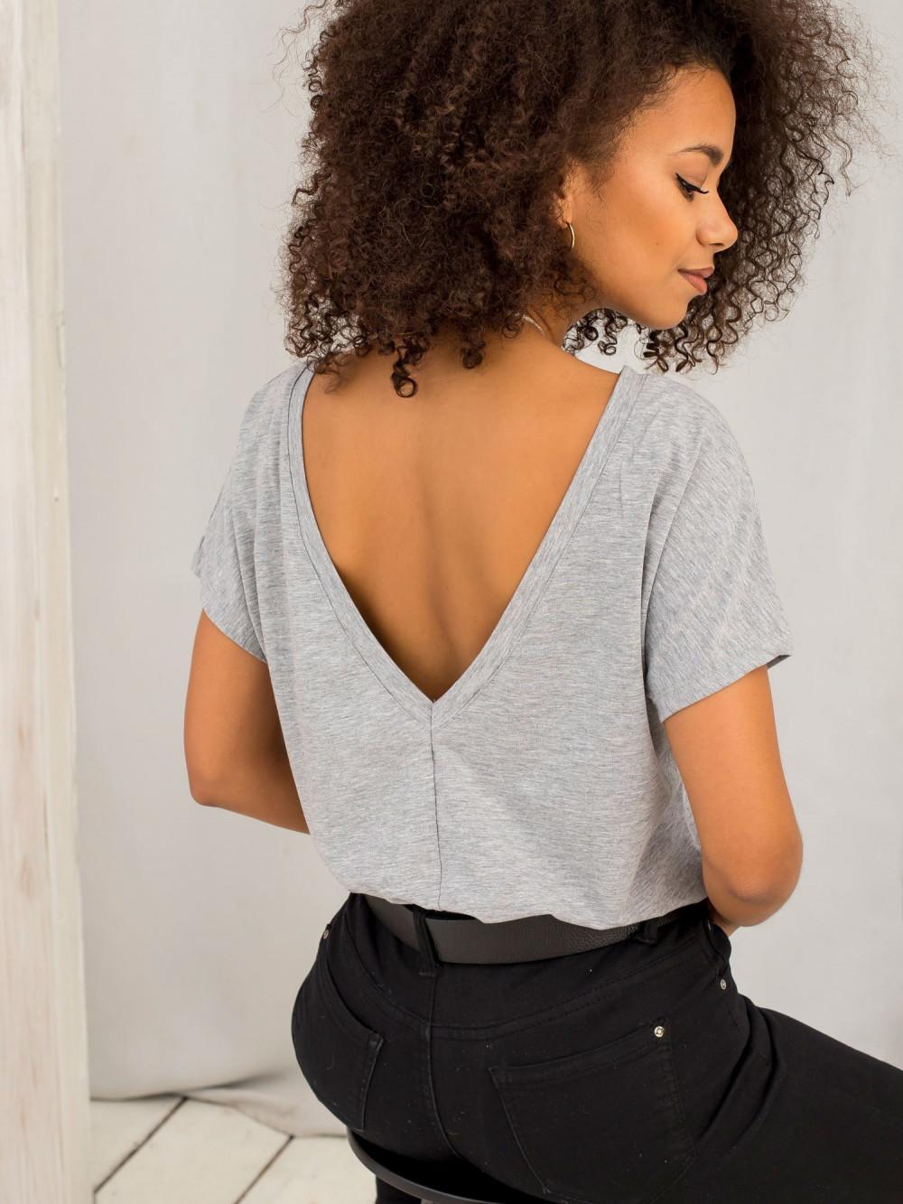 Szary melanżowy t-shirt z wycięciem V na plecach Sharon 1