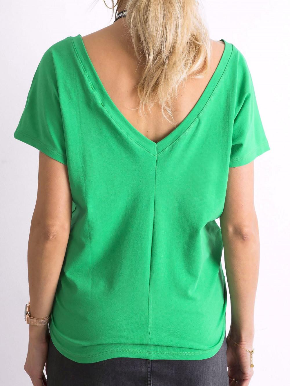 Zielony t-shirt z wycięciem V na plecach Sharon 1