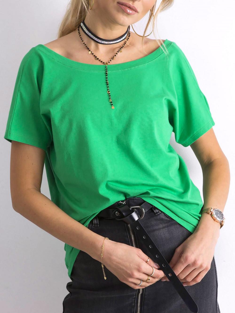 Zielony t-shirt z wycięciem V na plecach Sharon 4