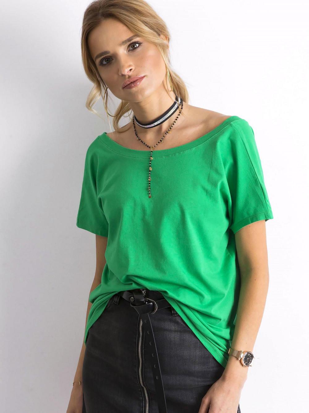 Zielony t-shirt z wycięciem V na plecach Sharon 2