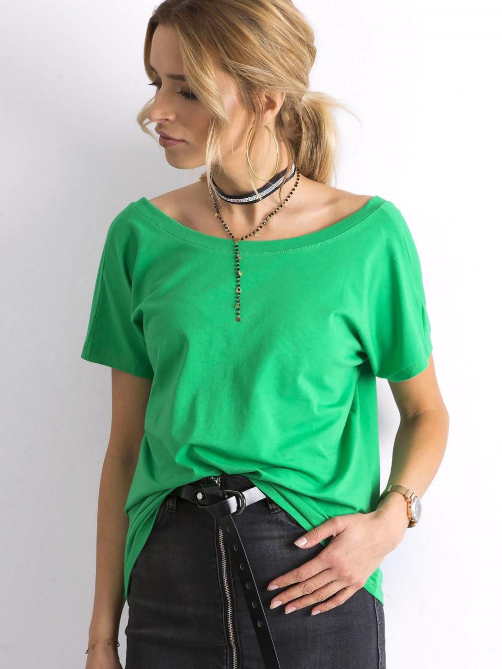 Zielony t-shirt z wycięciem V na plecach Sharon 3