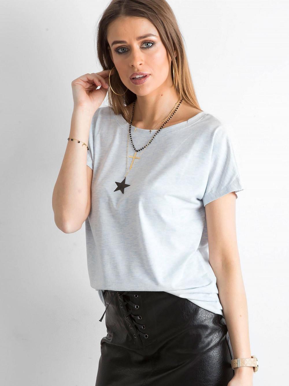 Jasnoniebieski melanżowy t-shirt z wycięciem V na plecach Sharon 2