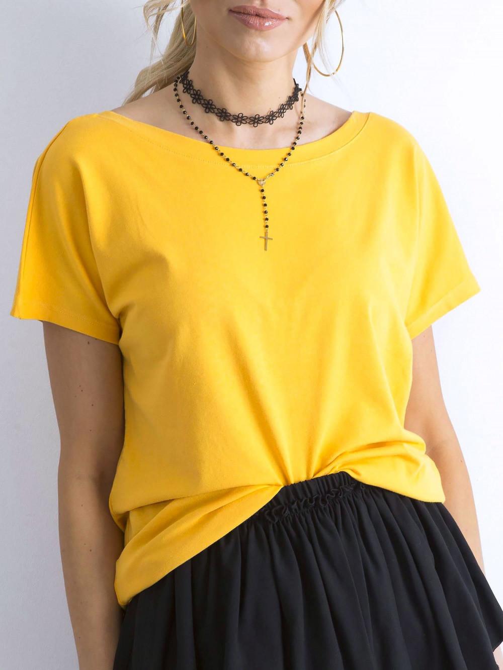 Ciemnożółty t-shirt z wycięciem V na plecach Sharon 3