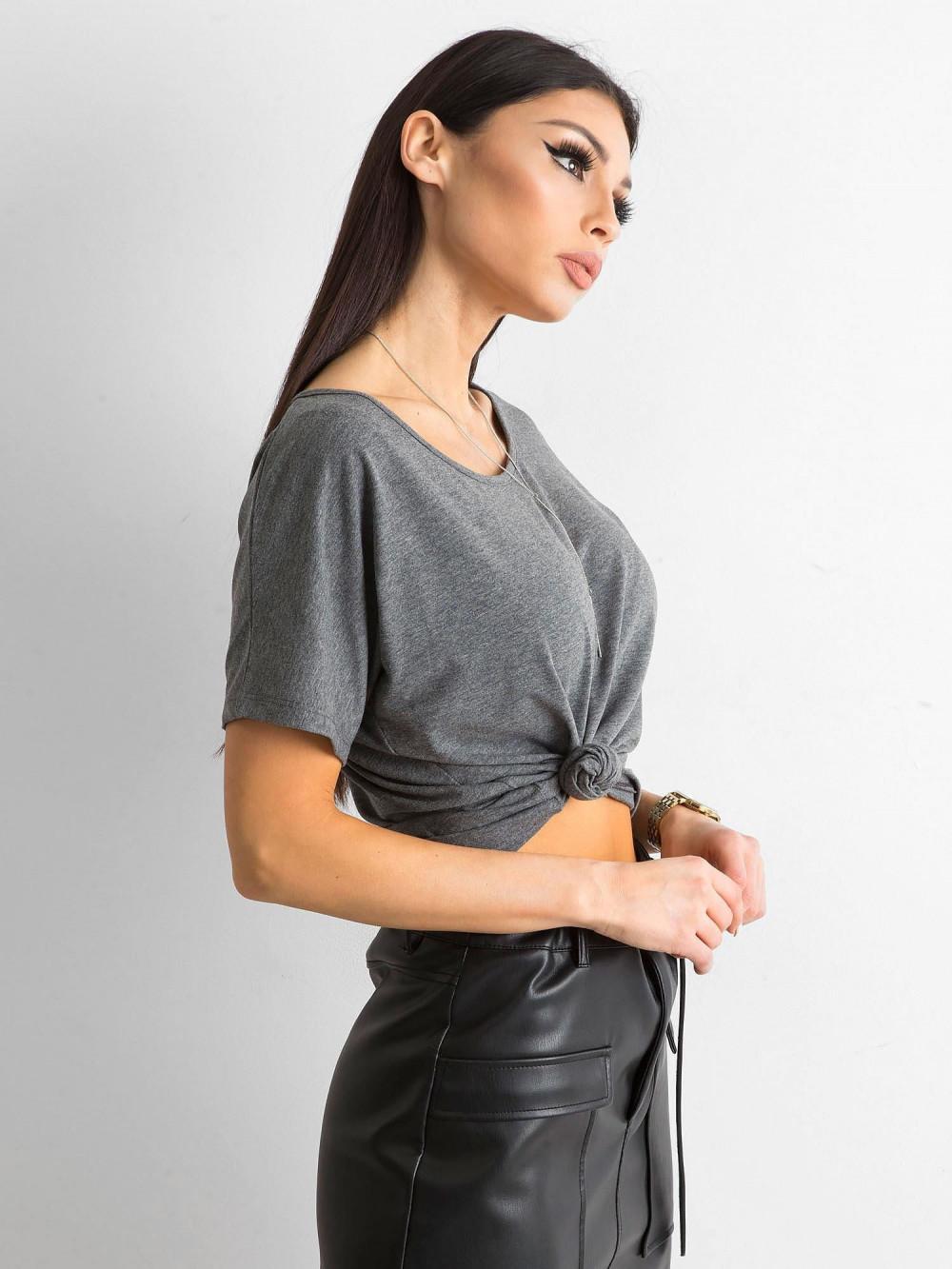 Ciemnoszary t-shirt z wycięciem na plecach Sofie 4