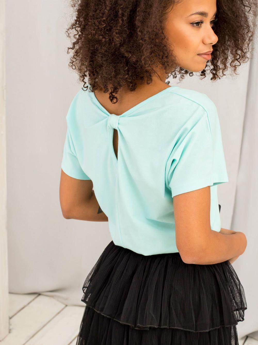 Miętowy t-shirt z wycięciem na plecach Sofie 2