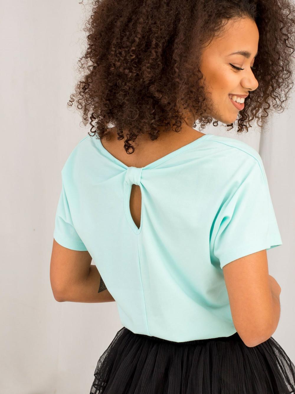 Miętowy t-shirt z wycięciem na plecach Sofie 1