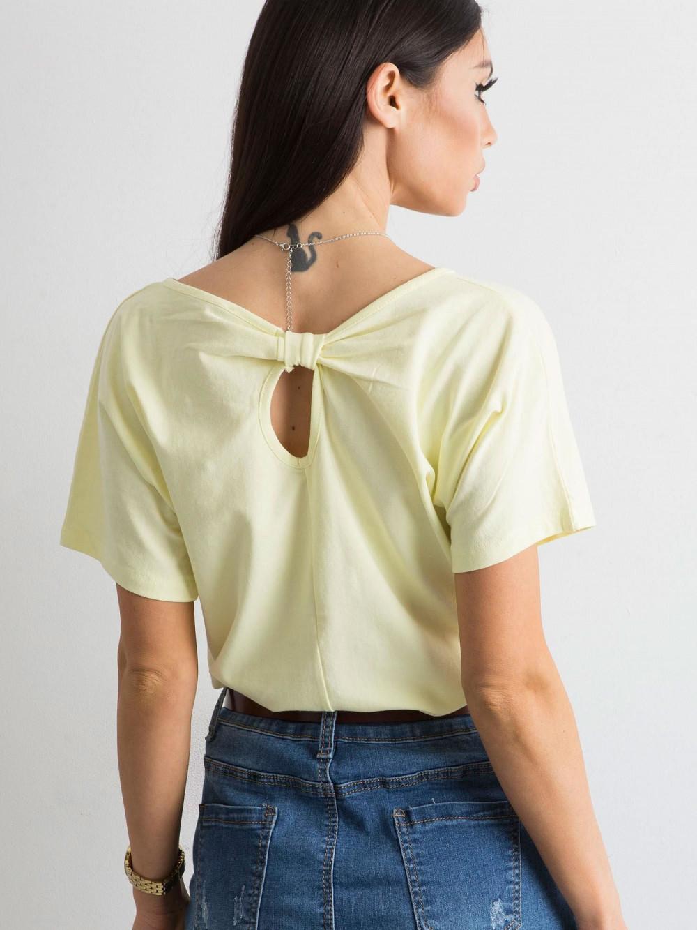 Jasnożółty t-shirt z wycięciem na plecach Sofie 1