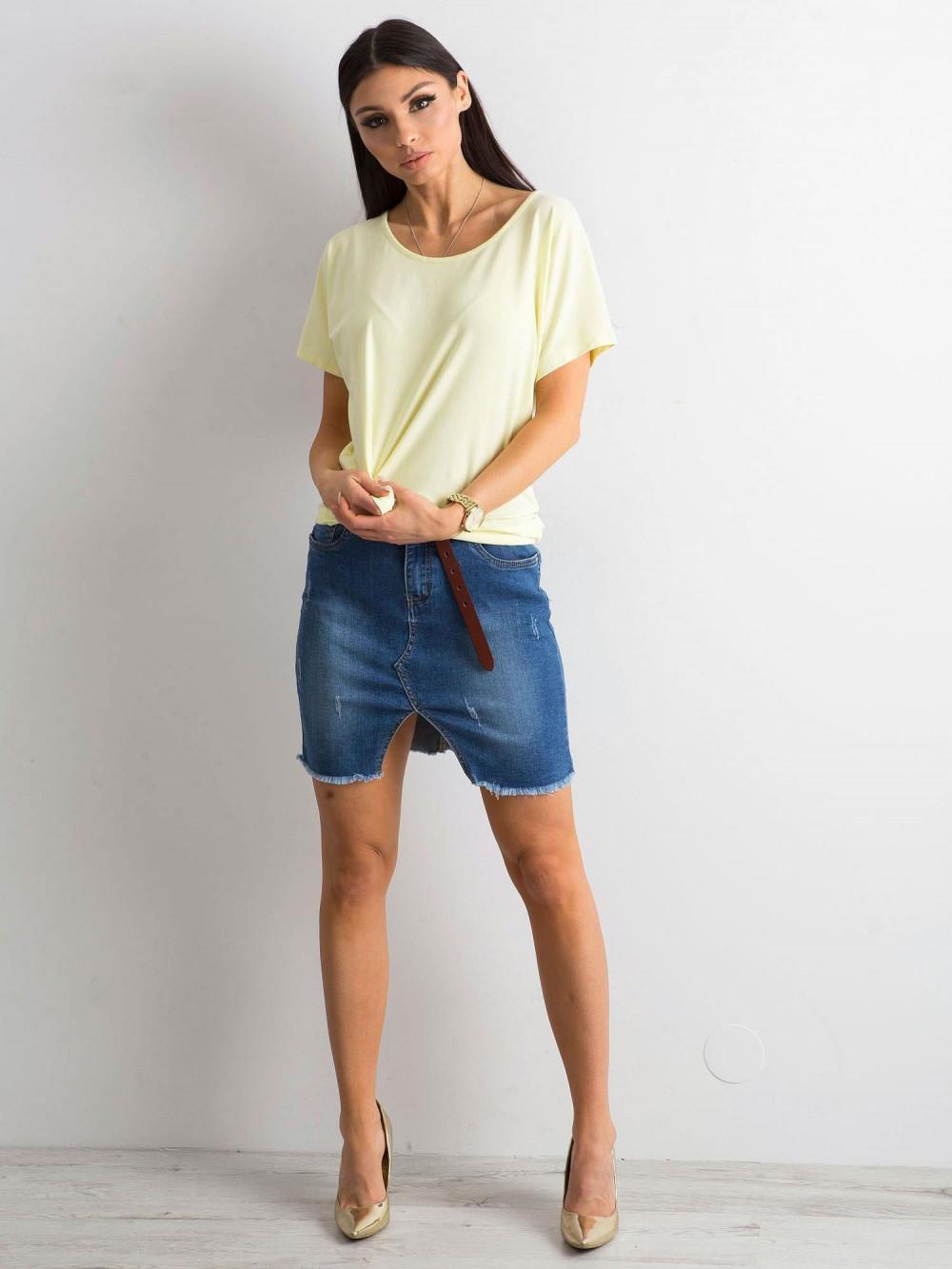 Jasnożółty t-shirt z wycięciem na plecach Sofie 4