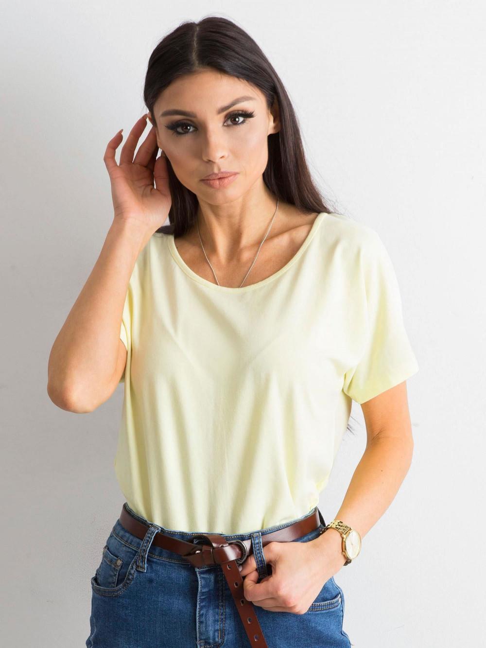 Jasnożółty t-shirt z wycięciem na plecach Sofie 2