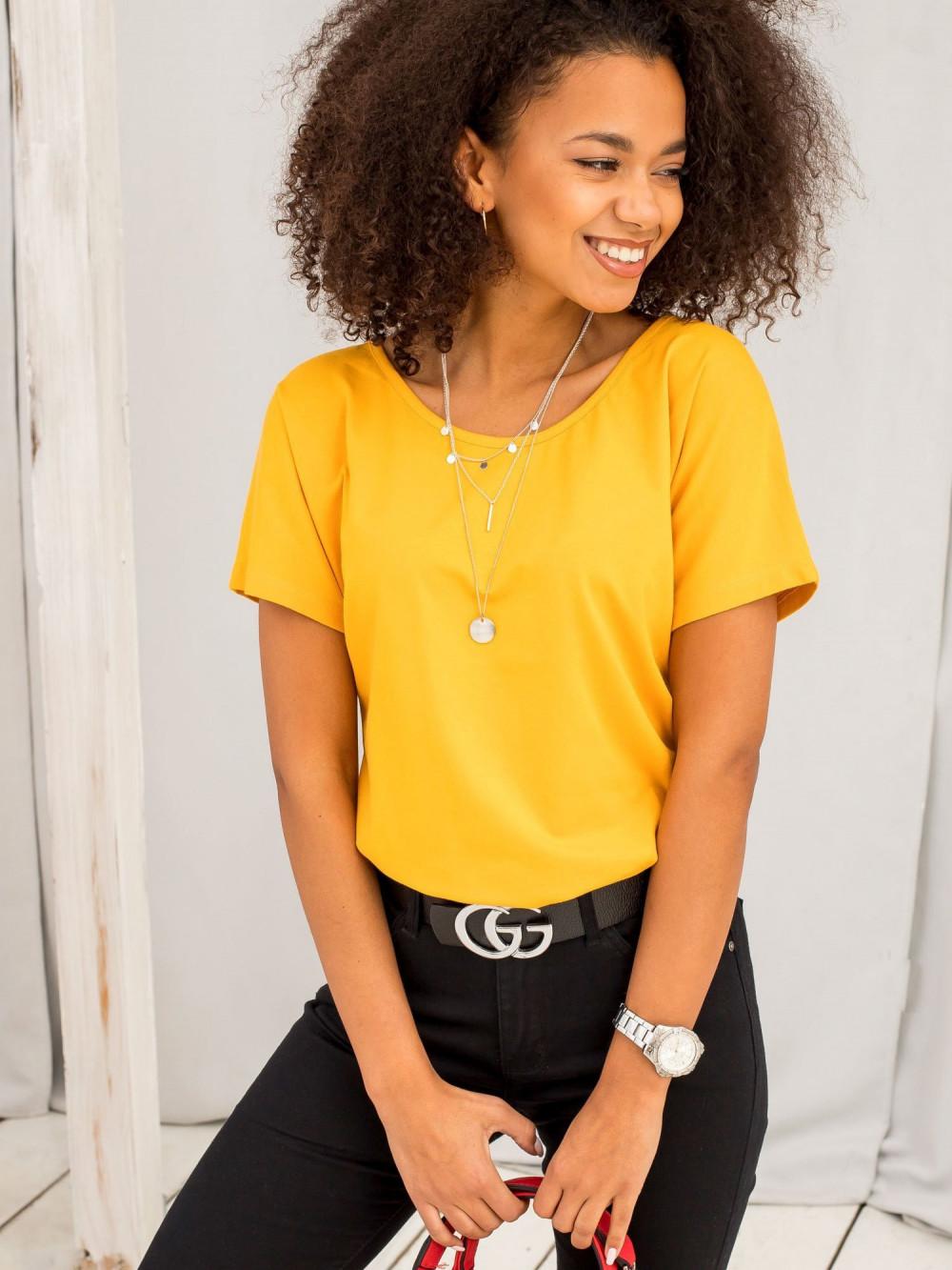 Jasnopomarańczowy t-shirt z wycięciem na plecach Sofie 4