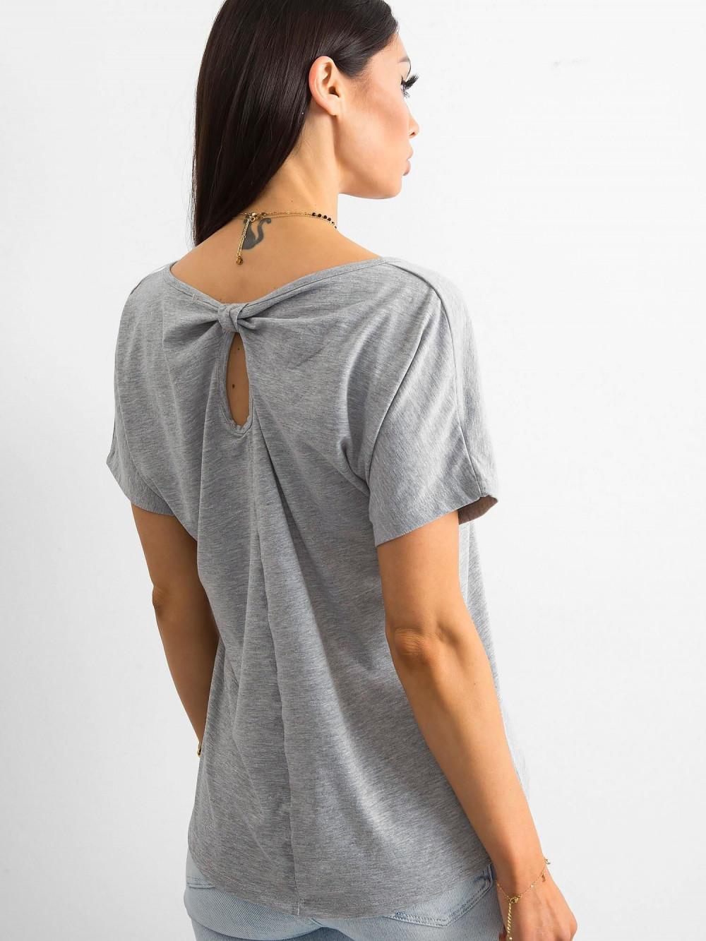 Szary t-shirt z wycięciem na plecach Sofie 1