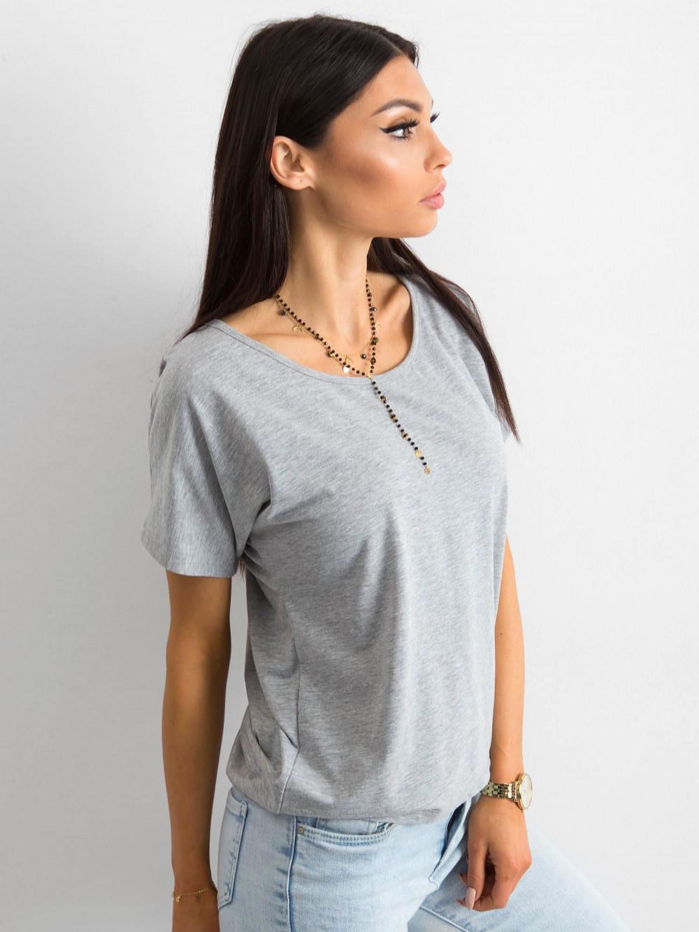 Szary t-shirt z wycięciem na plecach Sofie 3