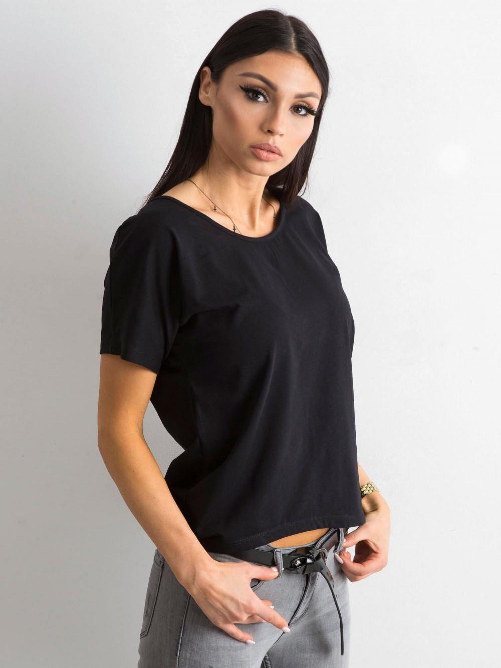 Czarny t-shirt z wycięciem na plecach Sofie 3