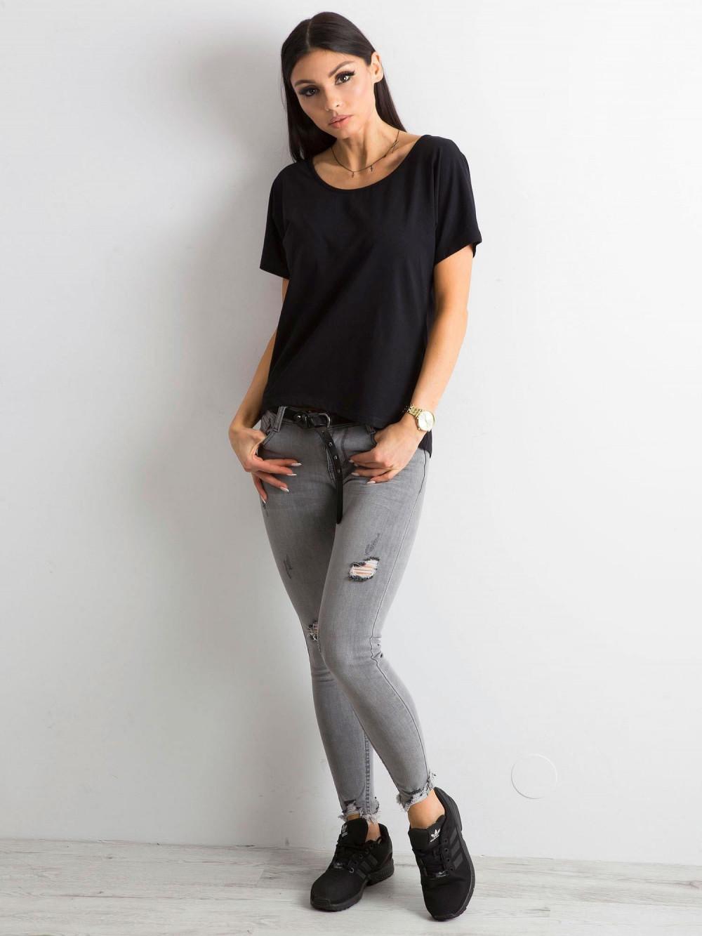 Czarny t-shirt z wycięciem na plecach Sofie 4