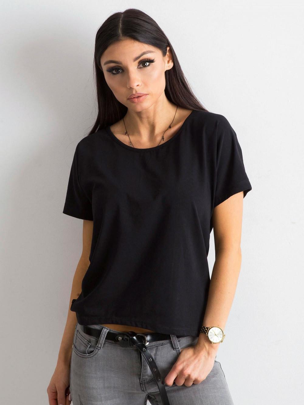 Czarny t-shirt z wycięciem na plecach Sofie 2
