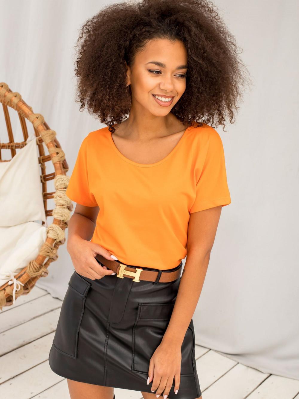 Pomarańczowy t-shirt z wycięciem na plecach Sofie 3