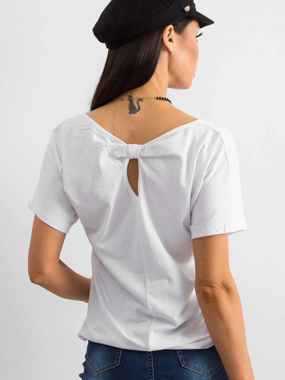 Biały t-shirt z wycięciem na plecach Sofie 1