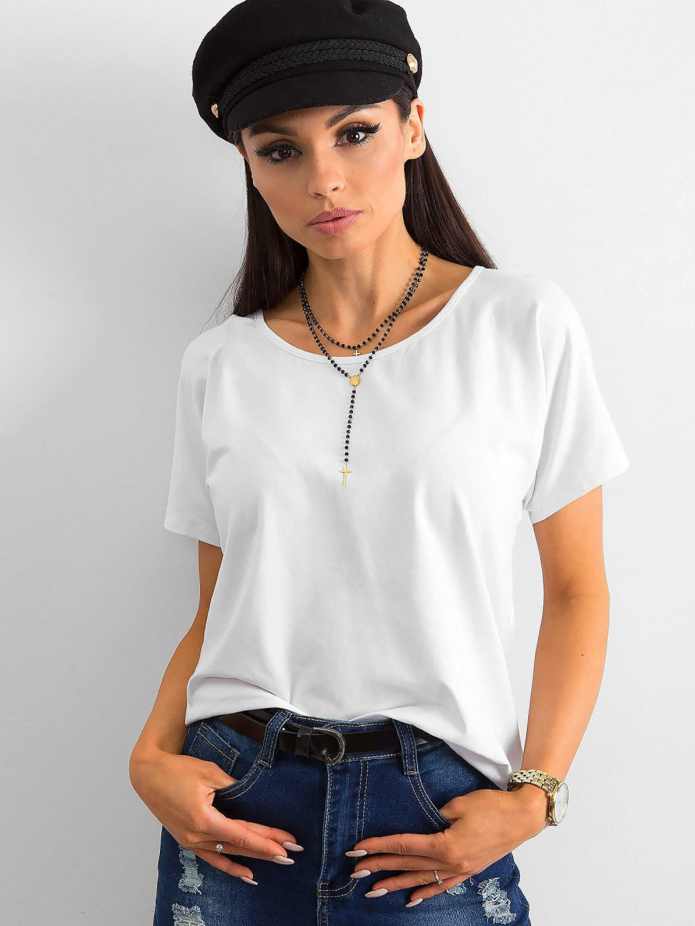 Biały t-shirt z wycięciem na plecach Sofie 2