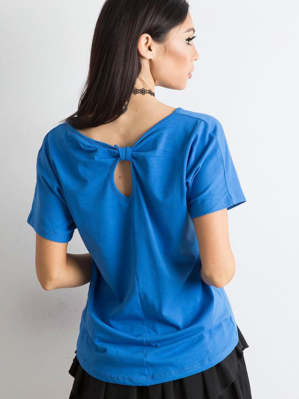 Niebieski t-shirt z wycięciem na plecach Sofie 1