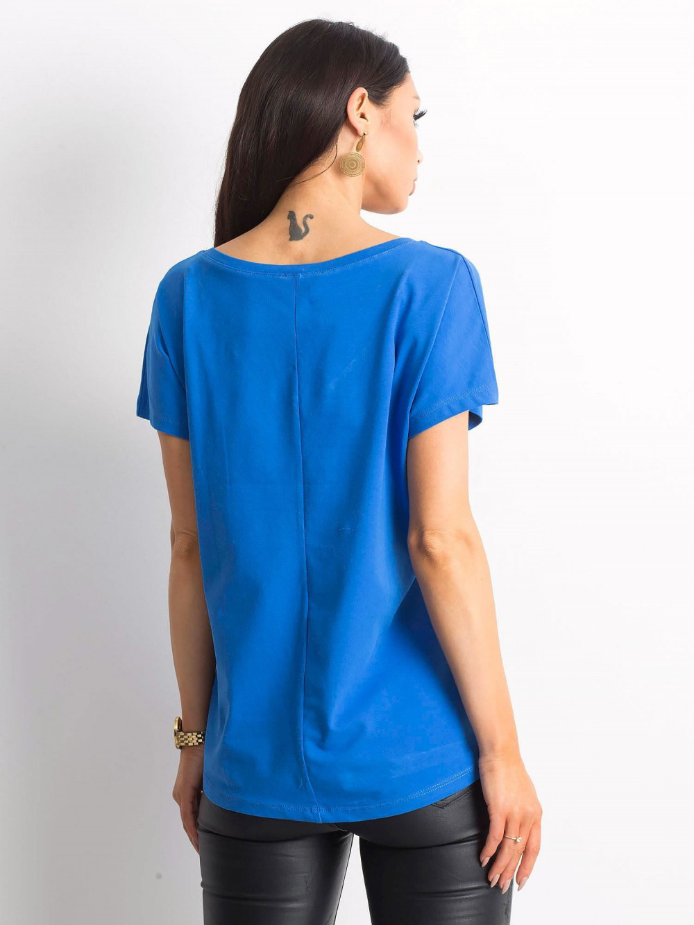 Ciemnoniebieski t-shirt V-Neck Gala 3