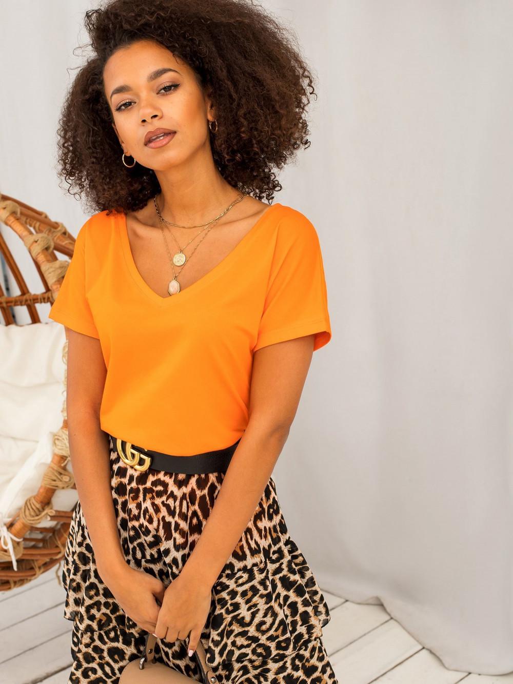 Neonowo pomarańczowy t-shirt V-Neck Gala 1
