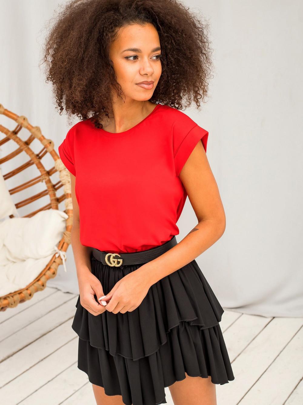 Czerwony t-shirt z zawijanymi rękawkami Nami 2
