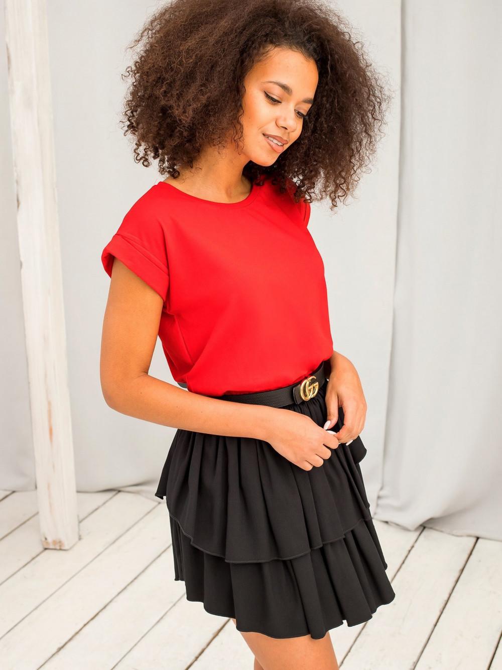 Czerwony t-shirt z zawijanymi rękawkami Nami 3