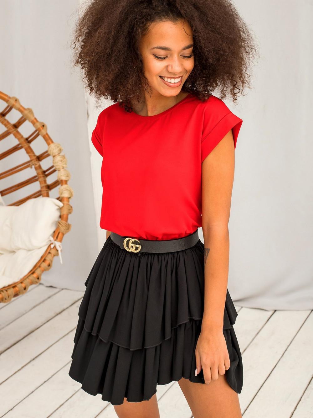 Czerwony t-shirt z zawijanymi rękawkami Nami 1