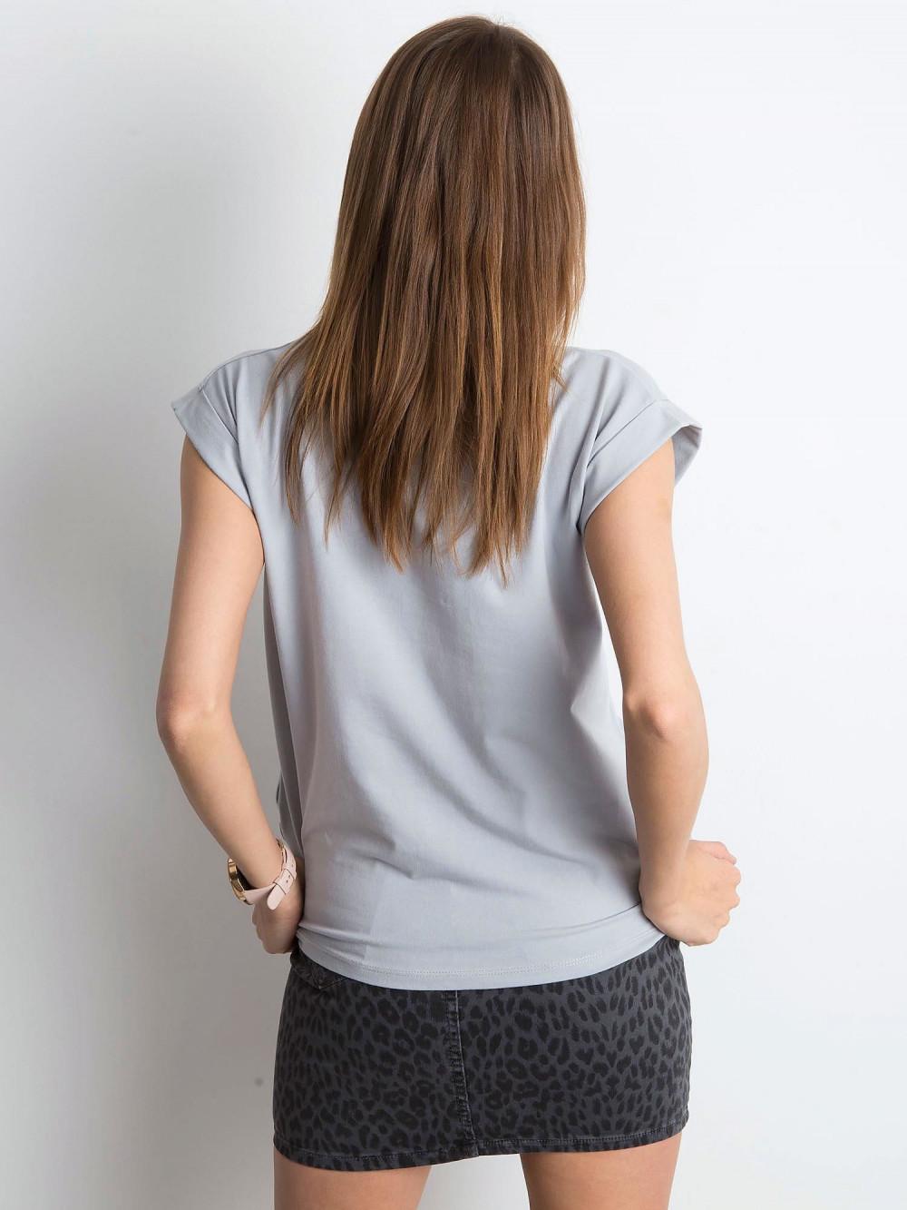 Jasnoszary t-shirt z zawijanymi rękawkami Nami 3