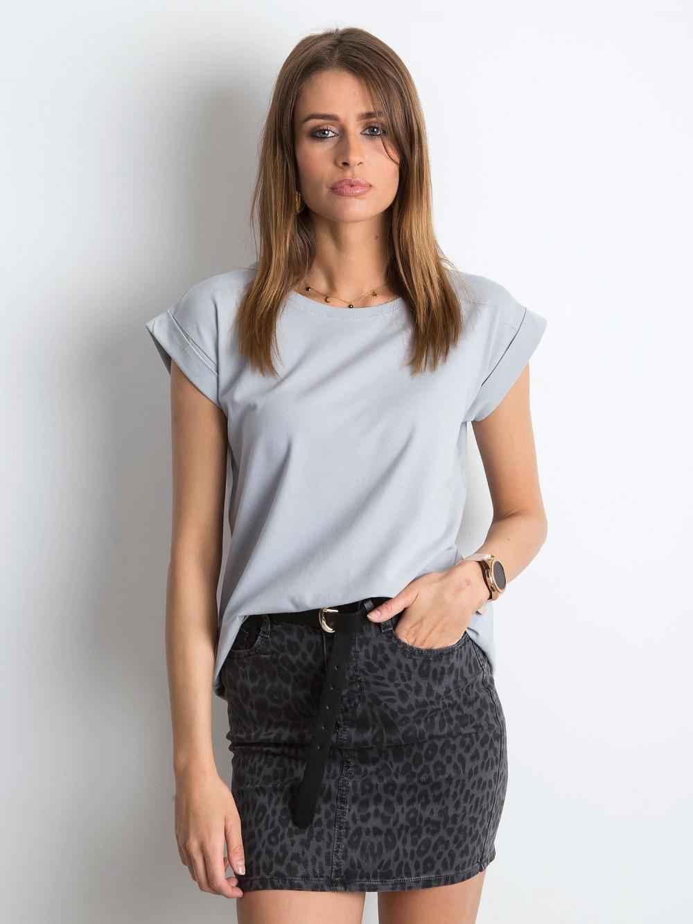 Jasnoszary t-shirt z zawijanymi rękawkami Nami 1