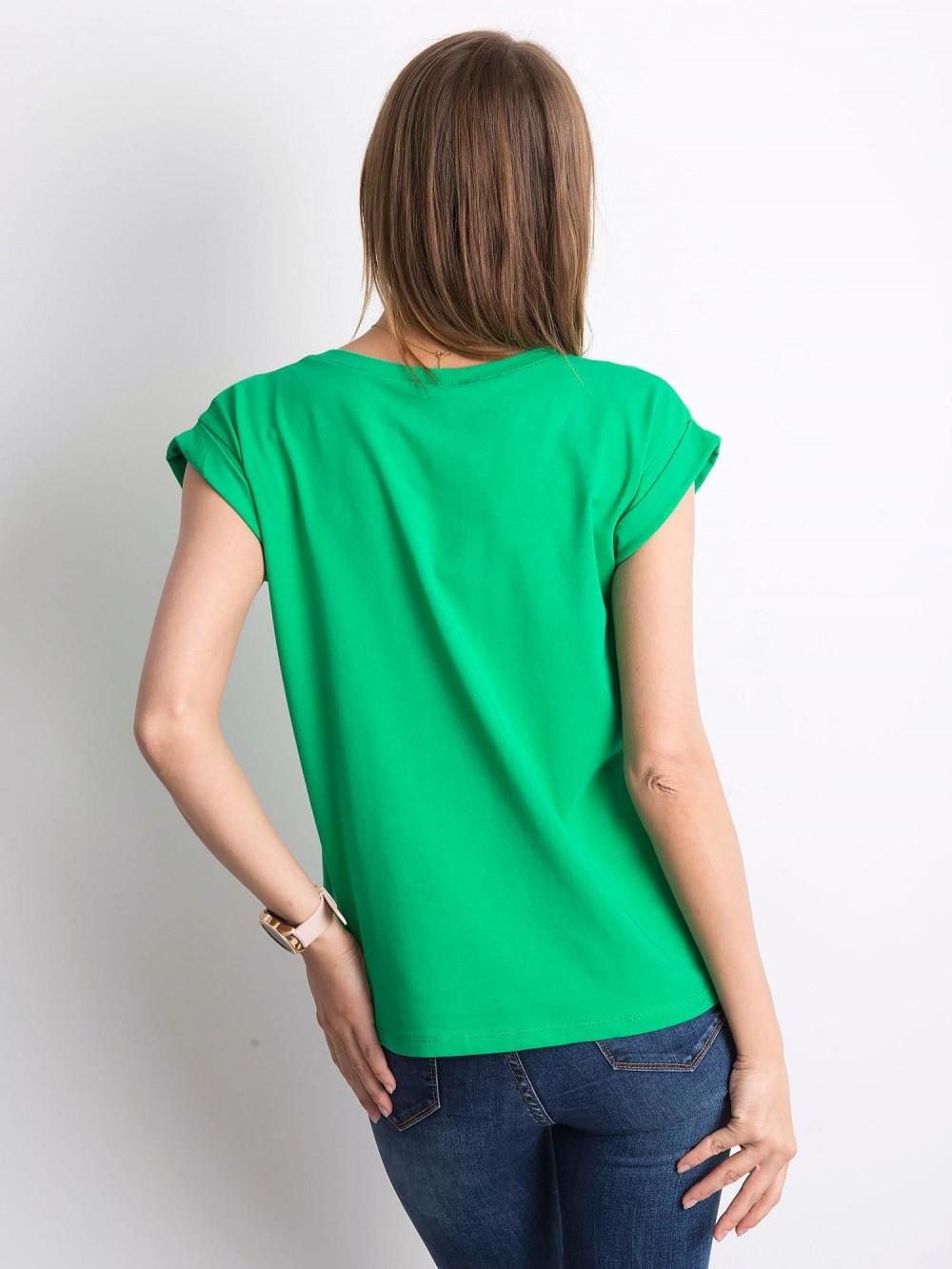 Zielony t-shirt z zawijanymi rękawkami Nami 4