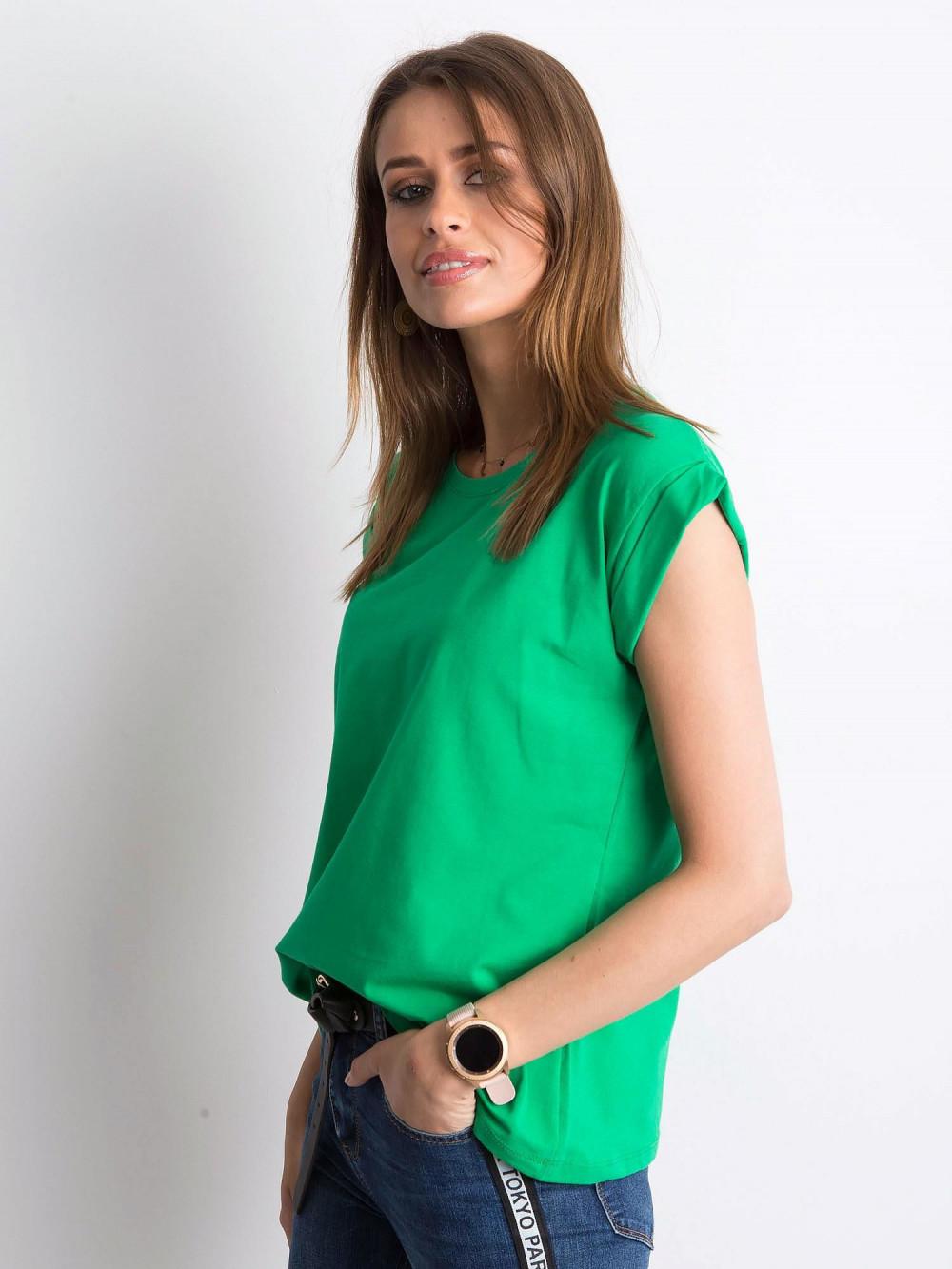 Zielony t-shirt z zawijanymi rękawkami Nami 2